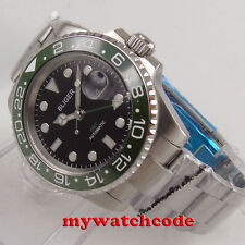 40mm parnis black dial luminous GMT date automatic movement mens watch P309