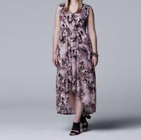 SIMPLY VERA VERA WANG Women's Pleated High-Low Maxi Dress  NWT