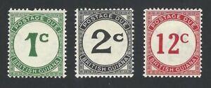 British Guiana 1940 Postage Dues SG D1, D2, D4 MM
