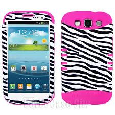 Hybrid Cover Zebra Skin Pink Silicone Case Samsung Galaxy S 3 III S3 Accessory