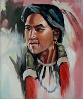 Portrait of a Native American, Hand Painted Oil Painting 20x24in