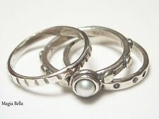 SHABLOOL DIDAE STERLING SILVER & PEARL STACK RINGS R00598 NEW