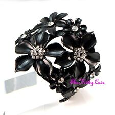Black Cutwork Fretwork Crystal Floral Flower Celebrity Catwalk Wrap Bangle Cuff
