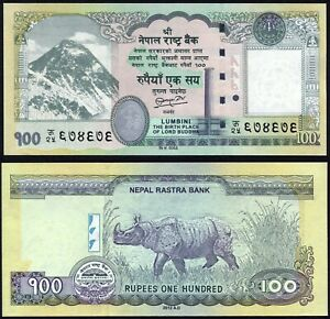 Nepal 100 rupees 2012 Mount Everest & Rhinocerous P73 Signature 18 UNC