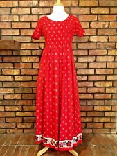 Cambridge Country Store Womens Small Maxi Dress Smocked Bust Red Western Cotton