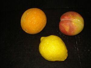 3pc Italian Alabaster Stone Fruit Large Size  Peach Lemon Orange
