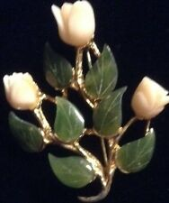 Vintage genuine signed SWOBODA INC Carved Jade Angekskin coral Rose Pin/Brooch