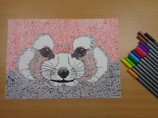 """""""Red Panda"""" Original SIGNED Artwork by Lucas Austin, Abstract Animal Ink Drawing"""