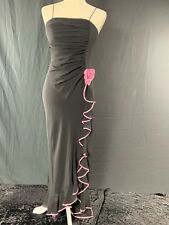 Black Flamenco Dress with Pink Trim and Flower Size 0, 2, 4, 6, 8, 10, 12, 14