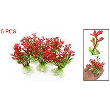 5Pcs Red Green Plastic Plant Decor & Ceramic Base for Fish Tank Aquarium B9
