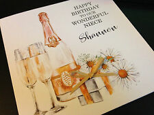 Personalised Handmade Champagne Birthday Card 18 21 30 40 50 60 Any relation