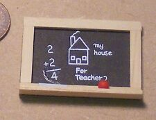 1:12th Scale Black Board & Chalk Dolls House Miniature Nursery Toy Accessory N