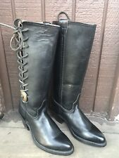 VTG HARLEY DAVIDSON WOMENS Sz6M GENUINE BLACK LEATHER KNEE HIGH RIDING BOOTS-345