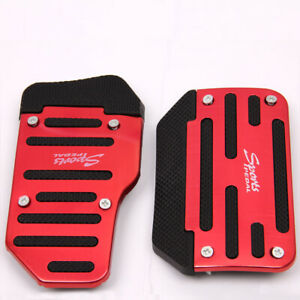 2Pcs Car Anti-Skid Automatic Air Brake Pedal Cover red Accessories Universal
