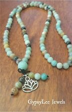 Mala 108Beads AMAZONITE ♡ Meditation Necklace/Bracelet Lotus Flower