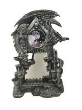 Large Gothic Smaug Dragon Overlord Guarding Castle Pendulum Table Clock Statue
