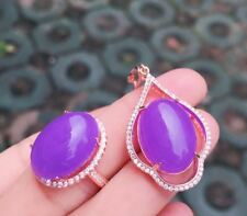 Free Chain Certified Mauve Jadeite 925 Silver Plated Gold Women Pendant Ring Set