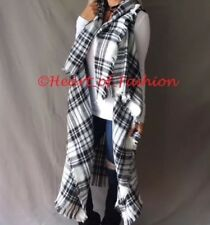 Fringe Detail Plaid Open Front Sleeveless Knit Drape Cardigan Fall Tunic Top