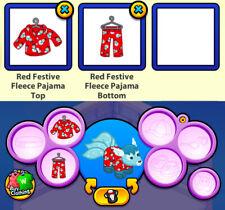2013 RETIRED Webkinz Christmas Clothing: Red Festive Fleece Pajama Top & Bottom