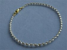 "Bracelet Gold/Sterling Silver Italy 925 10"" Twisted Shimmery Two Tone Ankle"