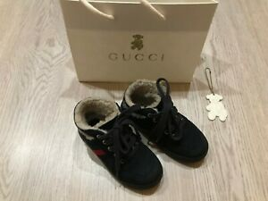 100% AUTHENTIC Gucci baby Sheepskin high-top sneakers size EUR 23 (US 7)