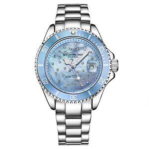 Stuhrling Women's Diver 3977 Crystal Studded Colored Dial 100 Meter water Resist