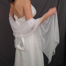 201White/Ivory chiffon bridal wrap wedding shawl scarf cover up long shrug stole