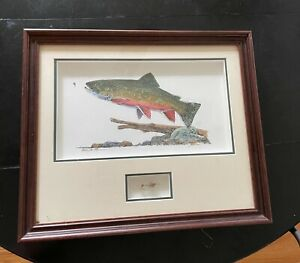 antique fly fishing art/photo/painting (30 years old) perfect condition