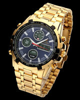 Men Watches Multifunction Digital Analog Gold Stainless Steel Band Blue Dial