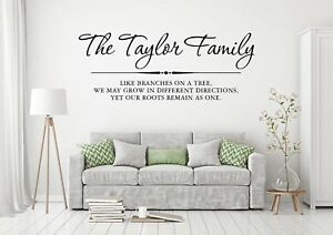 Personalised Family Name Wall Sticker, Wall Art Quote Home Interior Design AG04