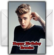 JUSTIN BIEBER Personalised Birthday / Christmas / Card - Large A5