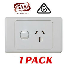1 x Single 15AMP Power Point GPO - White Electrical Supplies Standard - SAA 15A
