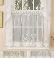 "Laurel Leaf Sheer Voile Embroidered Kitchen Curtains 24"" x 60"" Tier Pair"