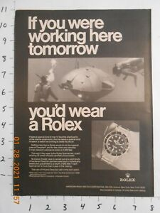 1969 ROLEX SUBMARINER OYSTER ORIGINAL AD IF YOU WERE WORKING HERE DEEPSTAR