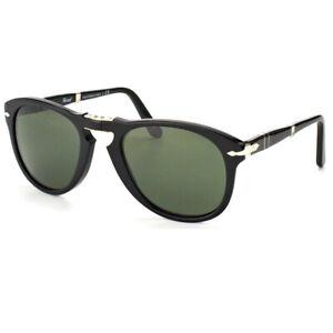 Persol Steve Mcqueen PO 714 95/58 Black Foldable Sunglasses Green Polarized 54mm