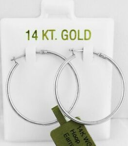 HIGH POLISHED HOOP EARRINGS SOLID 14K WHITE GOLD ** NEW WITH TAG **