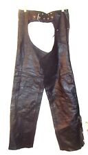 "Leather King Black Leather Motorcycle Riding Chaps Pants- 24""-34"" Waist Sz S"