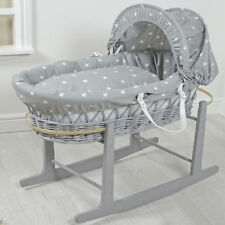4Baby Grey White Stars Grey Wicker Padded Baby Moses Basket & Rocking Stand