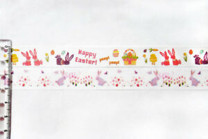 LOT of 2 Rolls Washi/Deco Tape Bunny Rabbits, Chicks, Eggs (Easter Theme) 10 Mtr