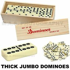 BIG PREMIUM JUMBO DOUBLE SIX DOMINOES DOMINO THICK SET OF 28 TILES WOOD CASE