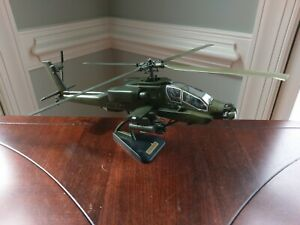 Diecast US Army AH 64 Apache Helicopter Model on Stand Green Boeing Military