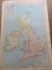 "1942 Vintage John Bartholomew Atlas Map 14.75. "" British Isles Political"