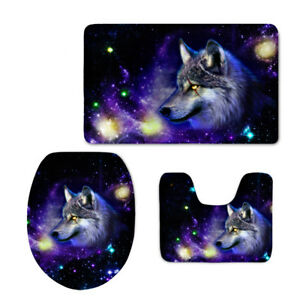 Galaxy Wolf Tiger Toilet Covers Mat Bathroom Pad Washable Flannel Carpet 3pcs