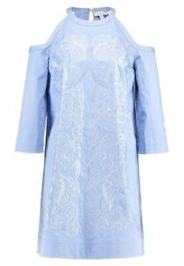 Ted Baker London Jettas Cut Out Shoulder Shift Dress Baby Blue TB Sz 0 US 2 NWT