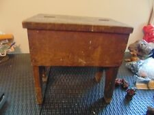 Vintage Shoe Shine Box Tall wood. solid with  brush flip lid