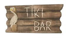 Pelican Tiki Bar Wooden Sign Vintage Look Home Decor