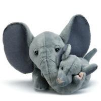 Elephant Mom And Baby Grey Children's Plush Stuffed Animal Toys, Set of 2