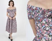 Vintage 80s Gunne Sax Jessica McClintock Floral Prom Boho Hippie Midi Maxi Dress