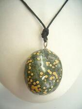 Ciondolo in ARGENTO 925 con DIASPRO OCEANO (Orbicolare) naturale - pietra dura -