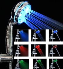 Adjustable 3 Mode LED Light Shower Head Sprinkler Temperature Sensor Bathroom